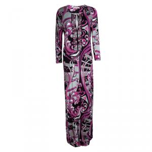 Emilio Pucci Multicolor Printed Embellished Long Sleeve Maxi Dress L