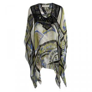 Emilio Pucci Multicolor Printed Silk Embellished Kaftan S