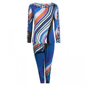 Emilio Pucci Multicolor Printed Top and Pant Set L