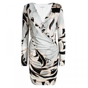 Emilio Pucci Multicolor Printed Silk Long Sleeve Draped Dress M