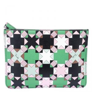 Emilio Pucci Multicolor Geometric Print Leather Small Clutch