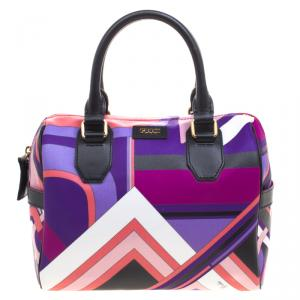 Emilio Pucci Multicolor Printed PVC Boston Bag