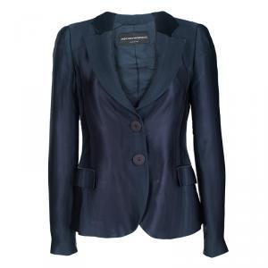 Emporio Armani Navy Blue Self Striped Two Button Blazer S