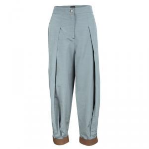 Emporio Armani Grey Leather Cuff Detail High Waist Pants M