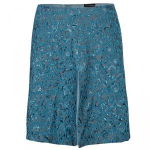 Emporio Armani Blue Metallic Jacquard Weave Skirt S
