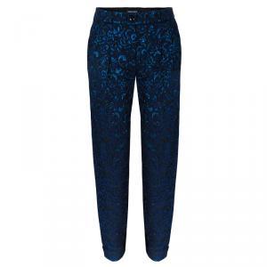Emporio Armani Blue Metallic Brocade Pants S