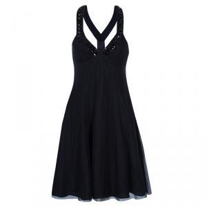 Emporio Armani Black Embellished Tulle Dress S