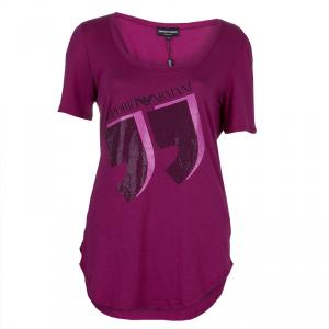 Emporio Armani Pink Studded Logo T-Shirt L