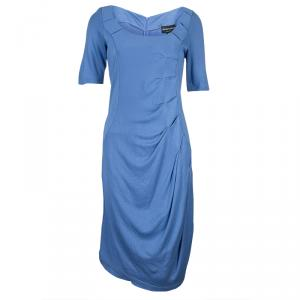 Emporio Armani Blue Knit Ruched Dress L
