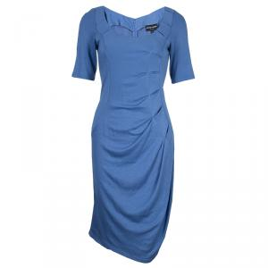 Emporio Armani Blue Knit Ruched Dress M