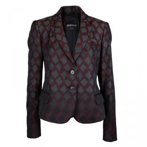 Emporio Armani Burgundy Textured Jacquard Blazer L