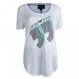 Emporio Armani White Studded Logo T-Shirt M