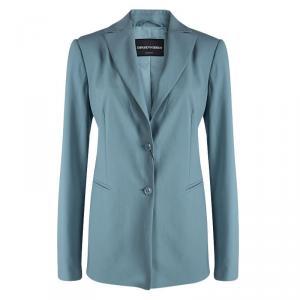 Emporio Armani Teal Wool Notched Collar Blazer L