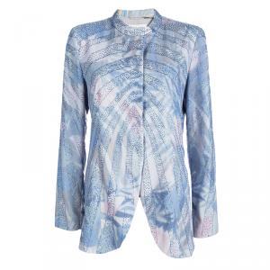 Emporio Armani Elite Multicolor Crystal Embellished Mandarin Collar Jacket M