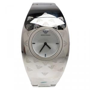 Emporio Armani Silver Etched Logo Stainless Steel AR-5785 Women's Cuff Bracelet Wristwatch 35MM