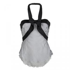Emporio Armani Monochrome Dot Printed Silk Chiffon Halter Top M