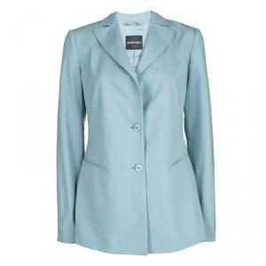 Emporio Armani Teal Blue Wool Tailored Two Button Blazer M