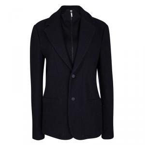Emporio Armani Navy Blue Wool Faux Double Layer Jacket S