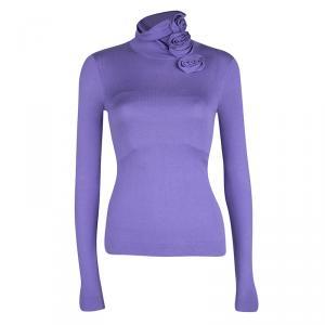 Emporio Armani Purple Knit Floral Applique Turtleneck Detail Long Sleeve Top S