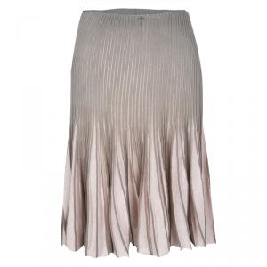 Emporio Armani Grey and Pink Pleated Skirt S