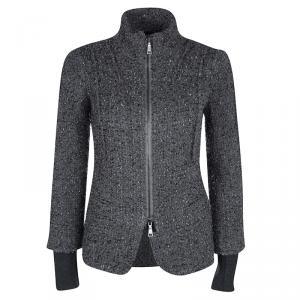 Emporio Armani Grey Textured Wool Zip Front Jacket S