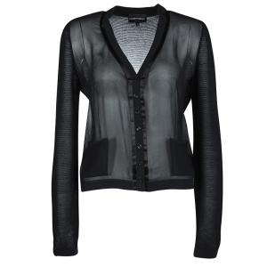 Emporio Armani Black Knit Combination Fabric Detail Cardigan M