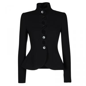 Emporio Armani Black Textured Wool Button Front Tailored Jacket S