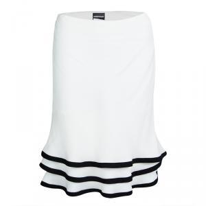 Emporio Armani White Layered Ruffle Bottom Skirt M