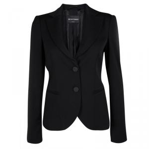 Emporio Armani Black Wool Notched Collar Tailored Blazer S