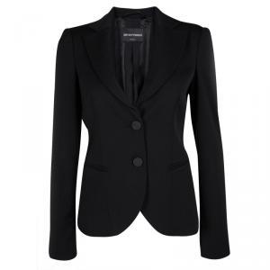 Emporio Armani Black Wool Notched Collar Tailored Blazer S