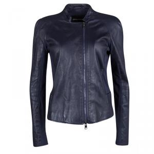 Emporio Armani Navy Blue Lamb Leather Knit Panel Detail Jacket M