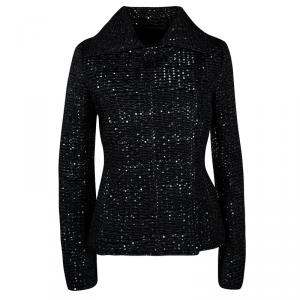 Emporio Armani Black Textured Dotted  Jacket M