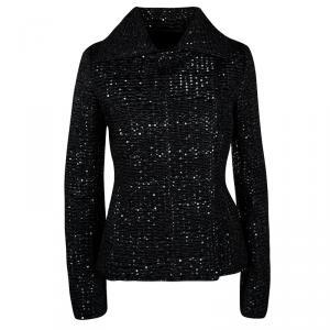 Emporio Armani Black Textured Dotted  Jacket M