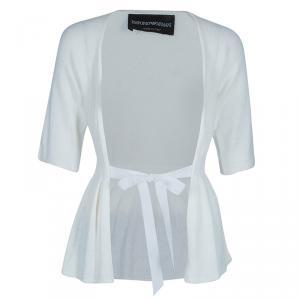 Emporio Armani White Knit Cardigan/Top M