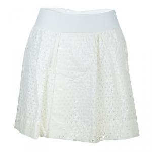 Emporio Armani Off-White Floral Laser Cut Overlay Gathered Skirt L