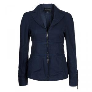 Emporio Armani Navy Blue Notched Collar Cotton-Linen Jacket S