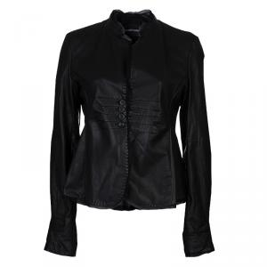 Emporio Armani Black Leather Chiffon Trim Fitted Jacket L