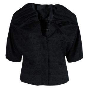 Emporio Armani Black Textured Draped Collar Cropped Jacket M