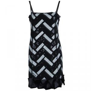 Emporio Armani Monochrome Sequin Embellished Sleeveless Dress S
