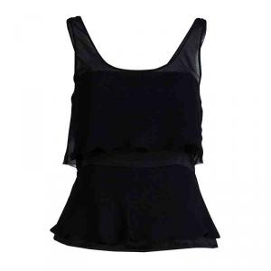 Emporio Armani Black Silk Overlay Detail Sleevless Top M
