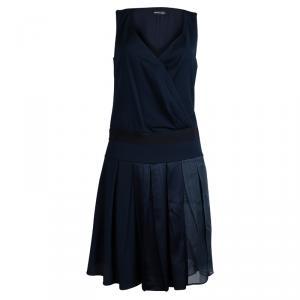 Emporio Armani Navy Blue Box Pleated Overlap Sleeveless Dress S