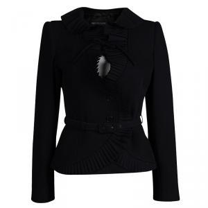 Emporio Armani Black Frill Detail Belted Blazer S