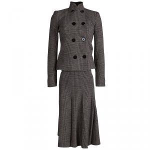 Giorgio Armani Brown Prince Of Wales Checkered Wool Skirt Suit XS