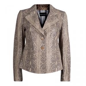 Emporio Armani Beige Snakeskin Textured Leather Blazer M