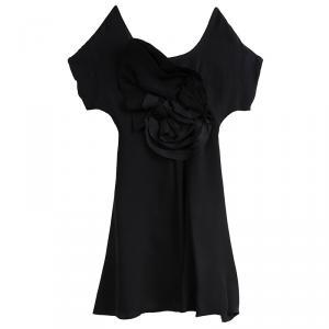 Emporio Armani Black Silk Rose Detail Dress S