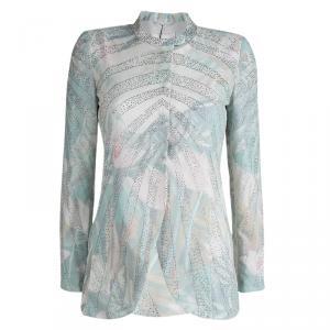Emporio Armani Elite Multicolor Crystal Embellished Mandarin Collar Jacket S