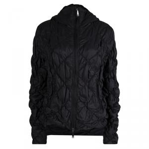 Emporio Armani Black Diamond Quilted Hooded Jacket L