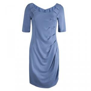 Emporio Armani Powder Blue Knit Short Sleeve Dress M