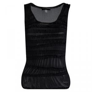 Emporio Armani Black Ruffle Detail Sleeveless Sheer Top S
