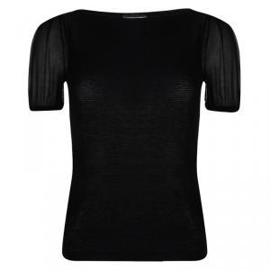 Emporio Armani Black Rib Knit Short Sleeve Top S